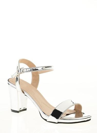 D by Divarese Kalın Topuklu Ayakkabı Gümüş